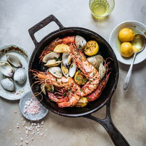 Roasted Colossal Prawns with Clams