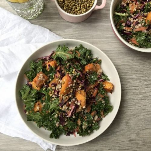 Roasted Squash and Kale Slaw Salad