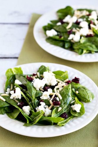 Spinach Salad with Cranberries, Almonds, and Goat Cheese