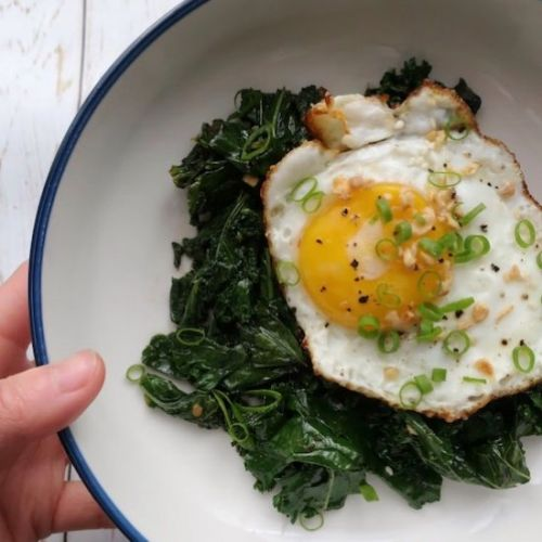 Sauteed Chili Jam Kale w/ Fried Egg