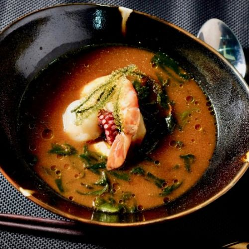Sake steamed seafood in red miso