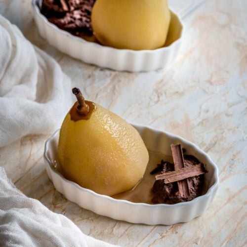 Poached Pears with Chocolate Mousse