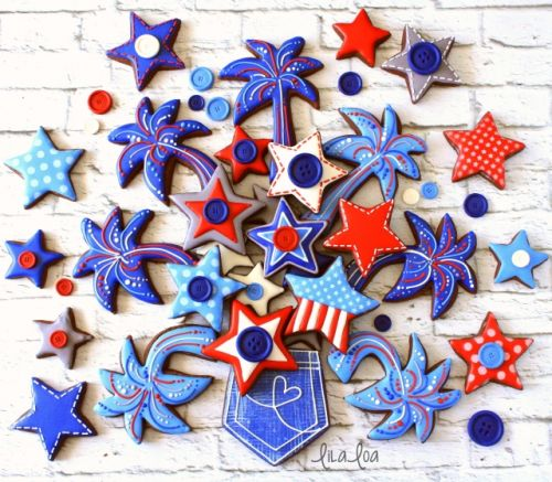 4th of July Decorated Pocket and Fireworks Cookies