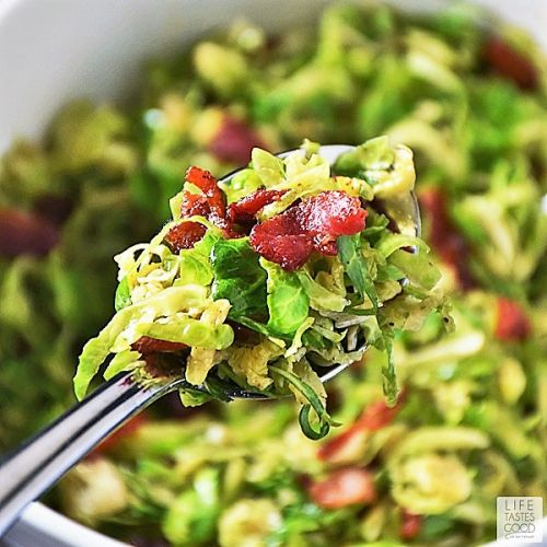 Shredded Brussels Sprouts with Bacon Dressing