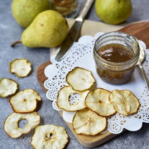 Pear Chips With Quick Caramel Sauce