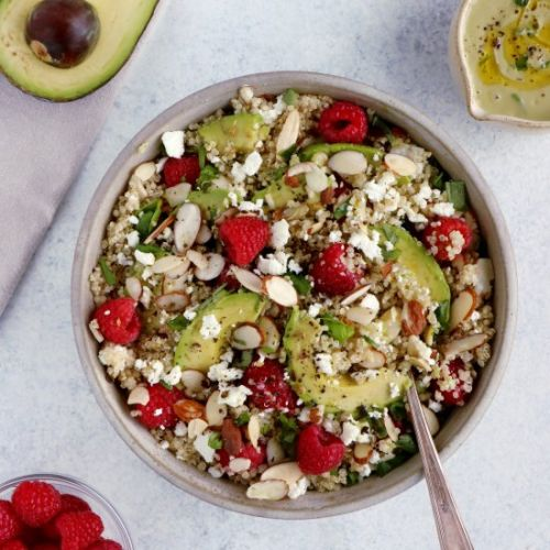 Avocado Raspberry Quinoa Salad