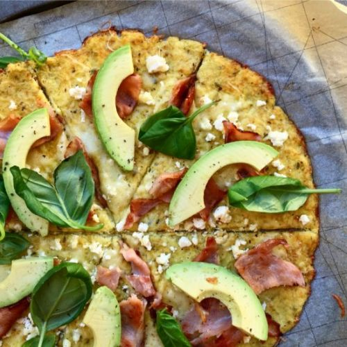 Bacon, Avo Feta Cauliflower Pizza