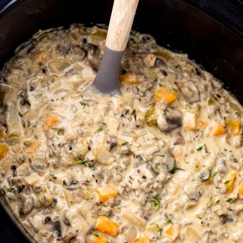 Slow Cooker Mushroom Wild Rice Soup