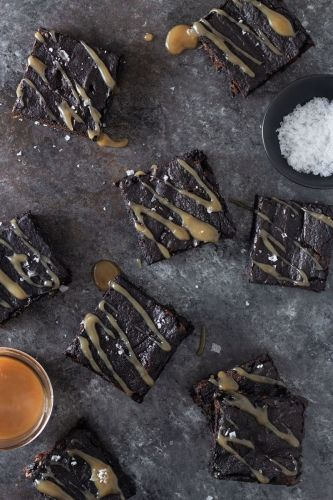 Dark Chocolate Chunk Brownies with Tamarind Salted Caramel