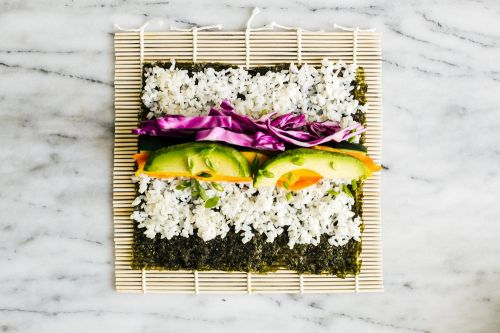 Colorful Veggie Sushi Roll and Spicy Mayo