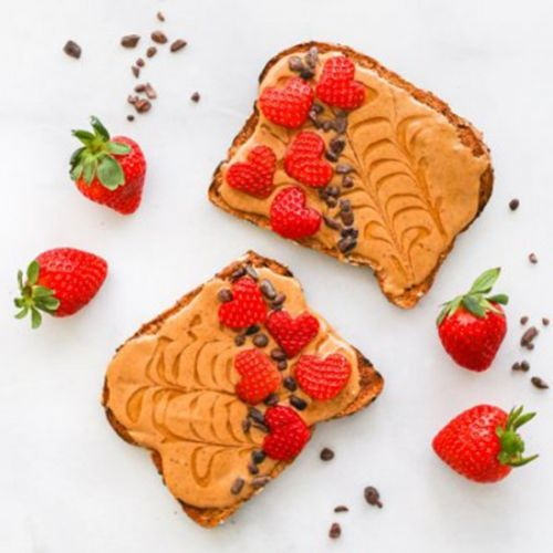 Strawberry Peanut Butter Heart Toast