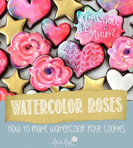 How to Make Decorated Watercolor Rose Sugar Cookies