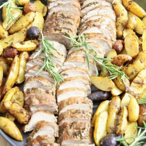 Balsamic Pork Loin Sheet Pan Meal