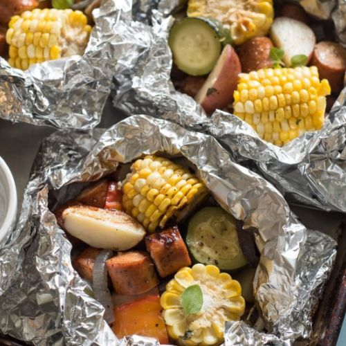 Grilled Sausage & Veggie Foil Packs