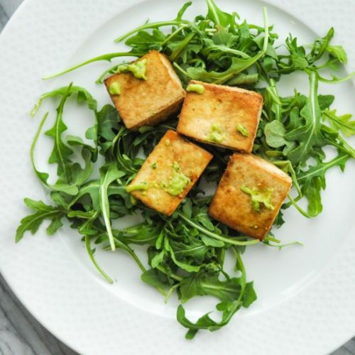 Baked Tofu with Avocado Sauce
