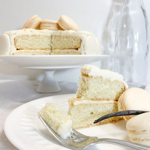 Frosted Vanilla Bean Layer Cake