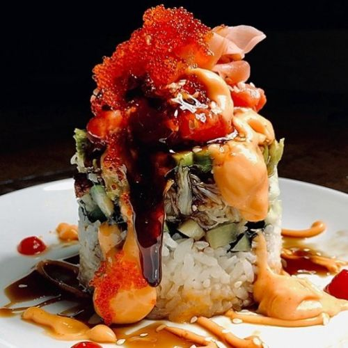 Delicious crab and spicy tuna tower