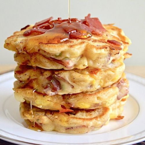 Cheesy Turkey Bacon Griddle Cakes