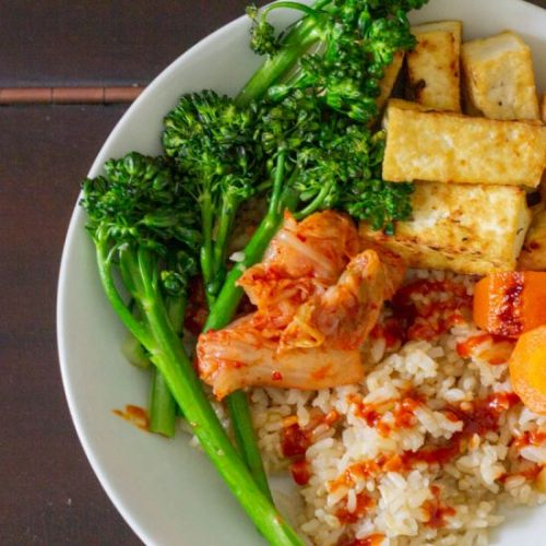 Tofu Rice Bowl with Gochujang Sauce