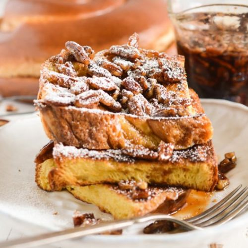 French Toast with Maple-Pecan Syrup
