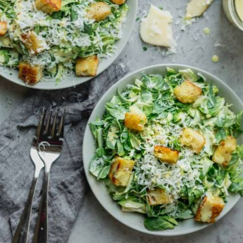 Brussels Sprout Salad with Croutons