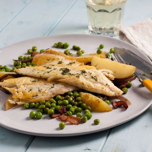 Seabass with peas and bacon