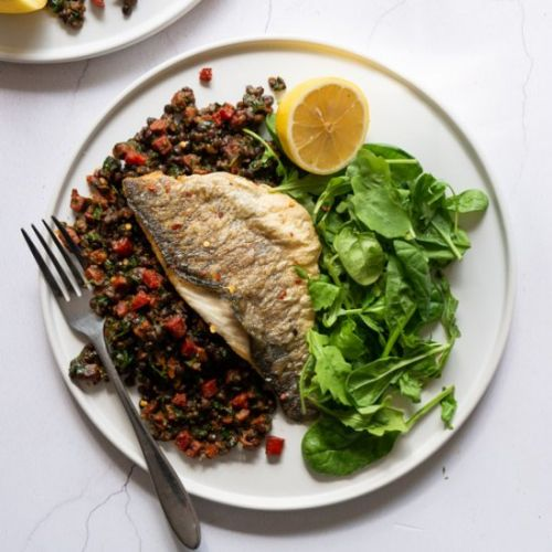 Sea Bass with Chorizo and Lentils
