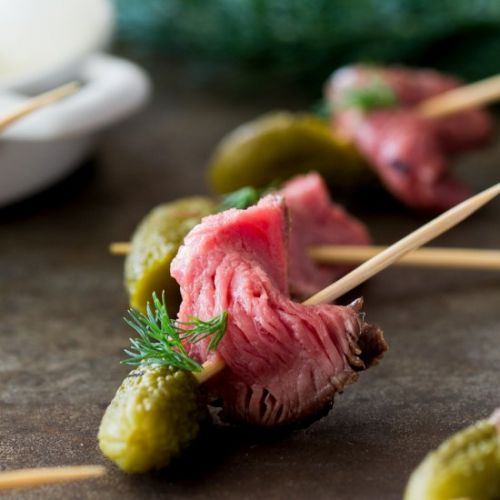 Dill Pickle Beef Skewers