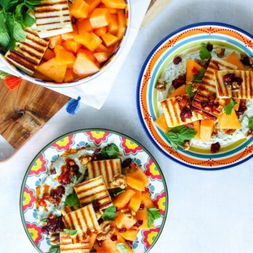 Grilled Paneer and Melon Salad