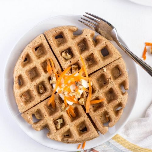 Healthy vegan carrot cake waffles