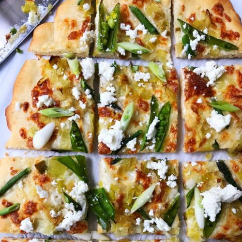 Spring Pizza with Asparagus, Leeks