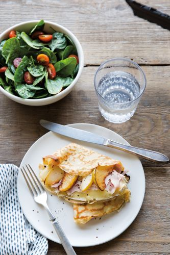 Sautéed Pear, Turkey and Brie Crepes
