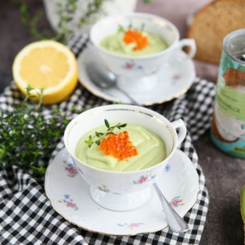 Warm Avocado Soup with Trout Caviar