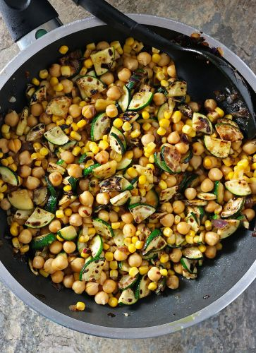 Charred Zucchini, Chickpea and Caramelized Onion Salad