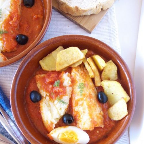 Salt Cod with Tomatoes and Olives