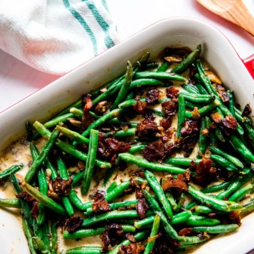 Green Beans with Bacon Cream Sauce