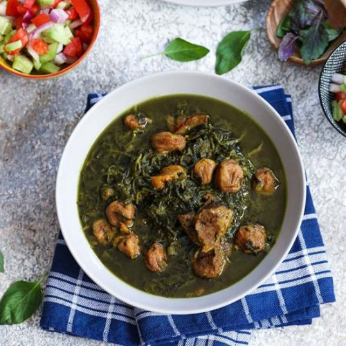 Spinach and golden plum stew