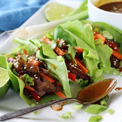 Grilled Teriyaki Steak Lettuce Wrap