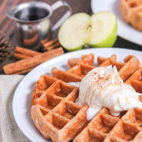 Homemade Apple Cinnamon Waffles