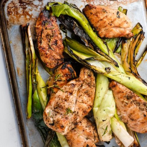 Grilled Chicken Cutlets and Leeks