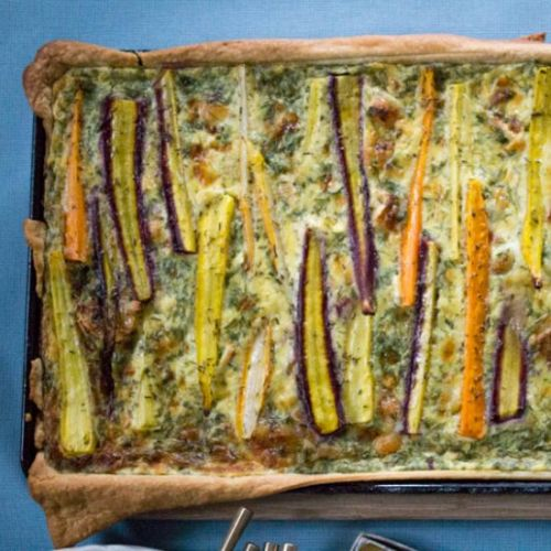 Rainbow Carrot Tart with Herbs