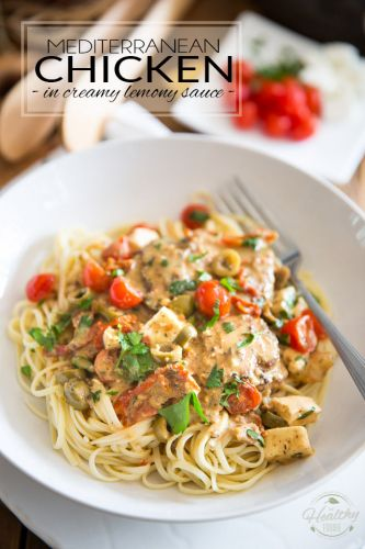 Mediterranean Chicken in Creamy Lemony Sauce