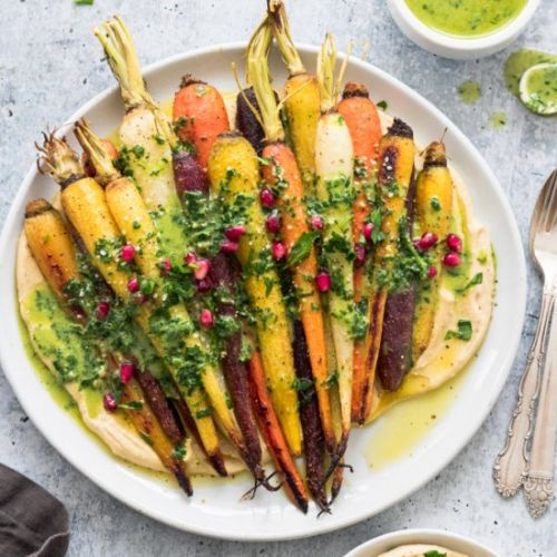 Roasted Carrots Over Hummus