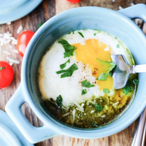 Baked Eggs with Tomatoes & Pesto
