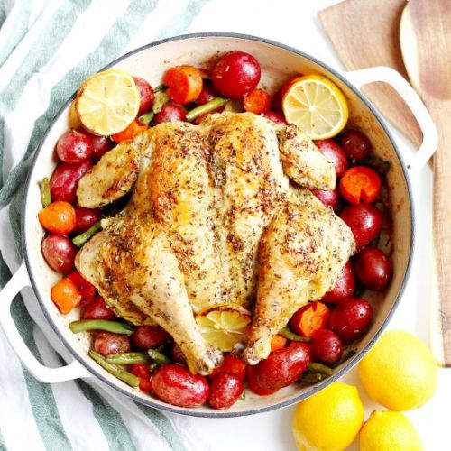 Whole Roasted Chicken with Veggies