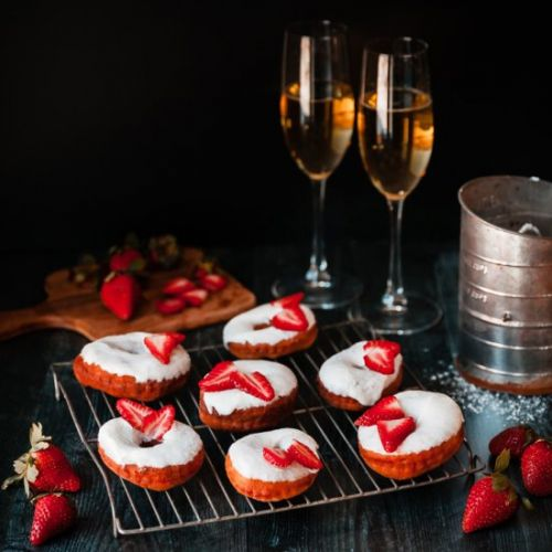 Strawberry Champagne Donuts