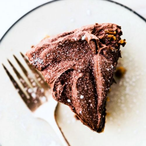 Chocolate Frosted Vegan White Cake