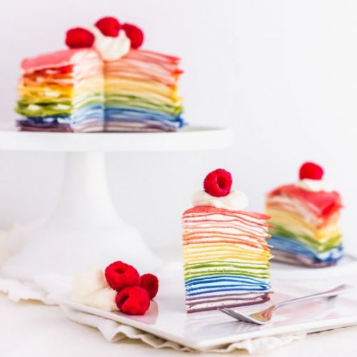 Natural Rainbow Mille Crepe Cake