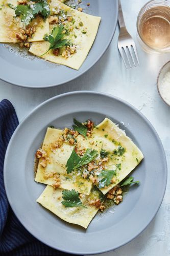 Ravioli with Bitter Greens and Toasted Walnut Butter