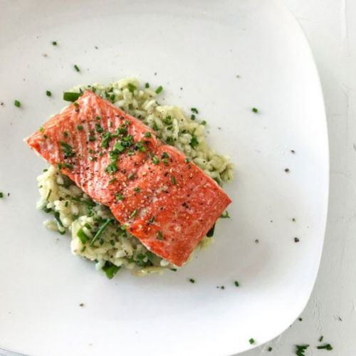 Baked Salmon and Asparagus Risotto